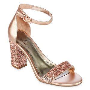Worthington Rose Gold Glitter Block Heel
